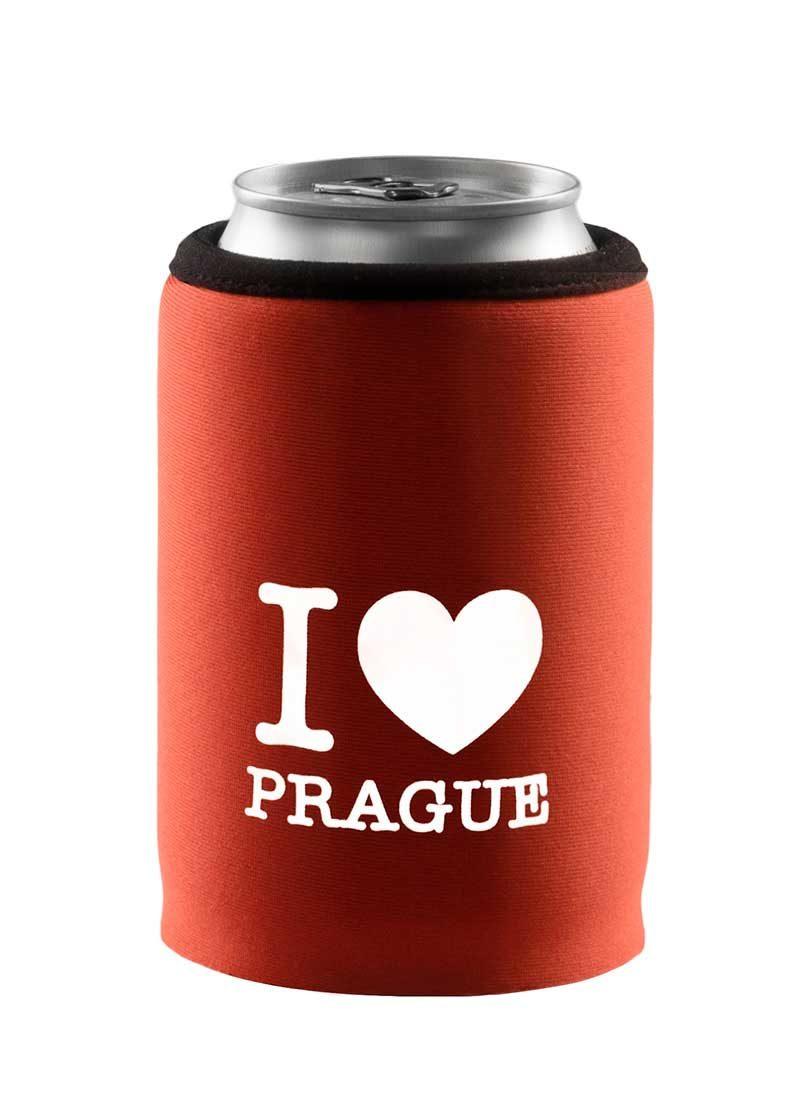 Neoprenový termoobal na plechovku 0,33l potisk I love Prague srdce oranžová-cihla-white