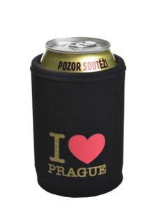 Neoprenový termoobal na plechovku 0,33l potisk I love Prague srdce black gold