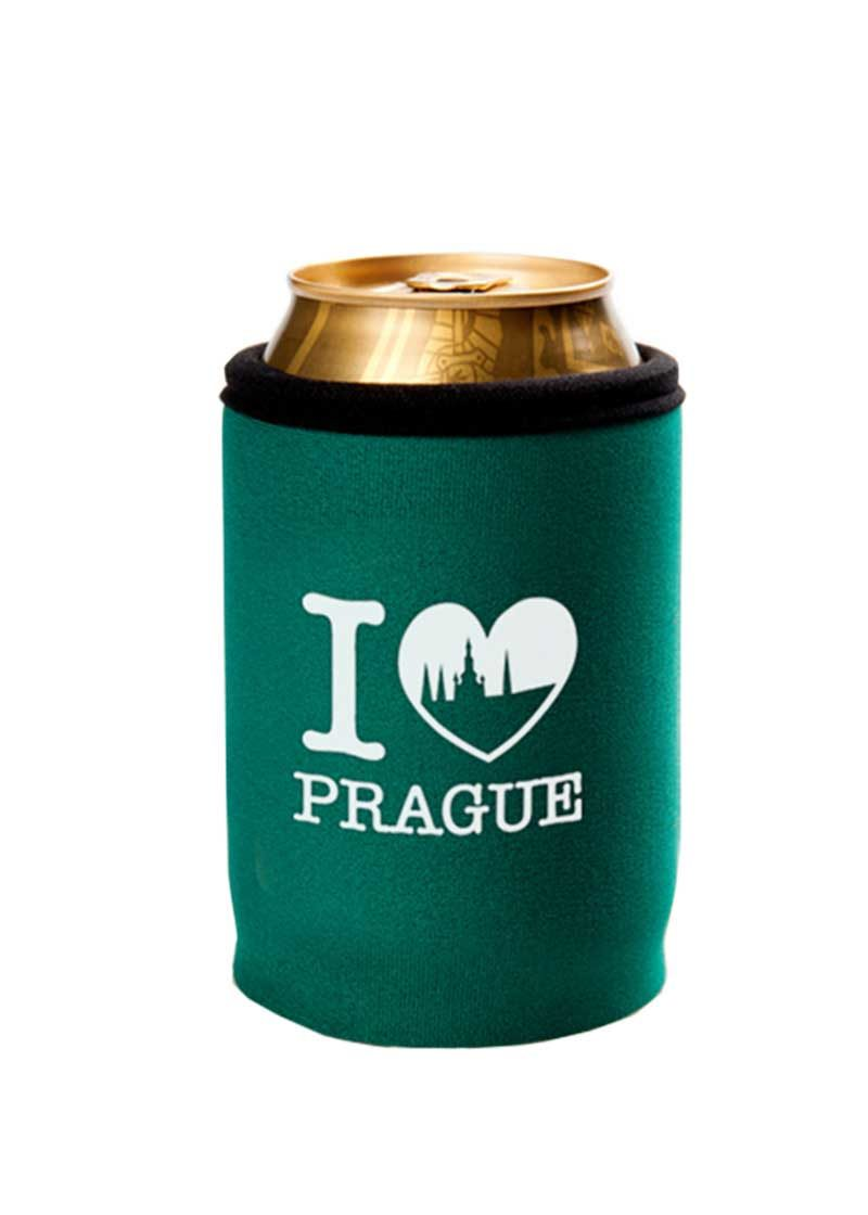 Neoprenový termoobal na plechovku 0,33l potisk I love Prague green Hradčany white