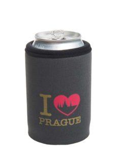 Neoprenový termoobal na plechovku 0,33l potisk I love Prague grey Hradčany gold red
