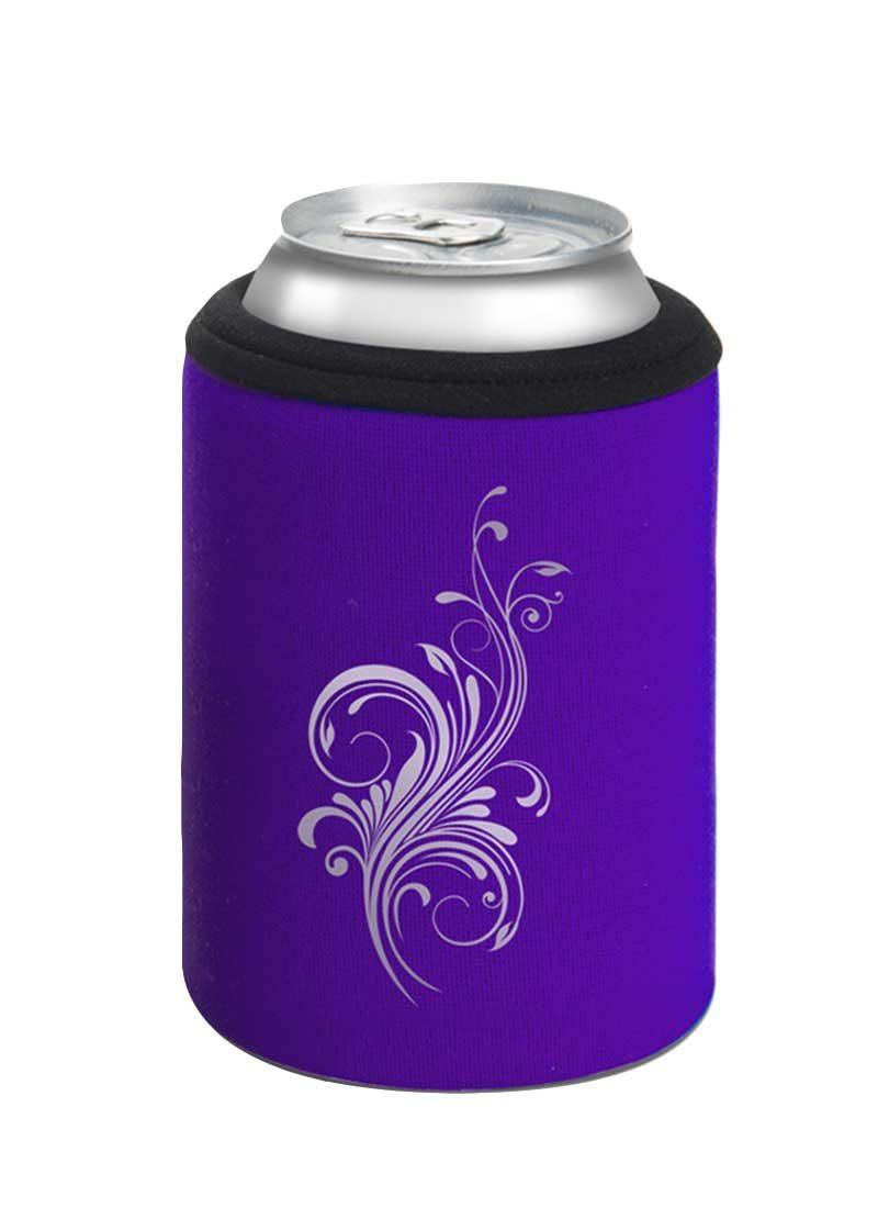 Neoprenový termoobal na plechovku 0,33l potisk kytka purple silver