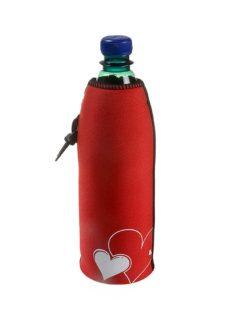 Neoprenový termoobal na sklo a PET láhev objem 0,5l potisk love srdce red