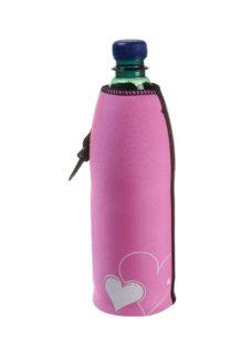 Neoprenový termoobal na sklo a PET láhev objem 0,5l love srdce pink