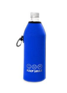 Neoprenový termoobal na sklo a PET láhev objem 0,5l smile blue