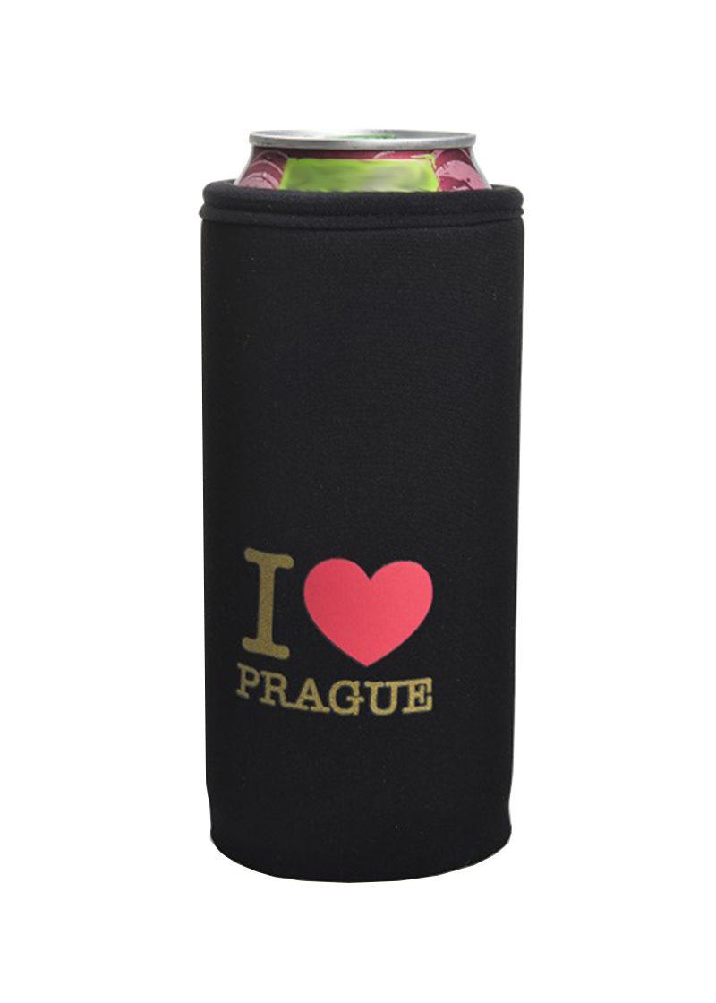 Neoprenový termoobal na plechovku 0,5l I love Prague - srdce black-gold