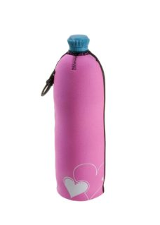Neoprenový termoobal na PET láhev objem 0,7l potisk love srdce pink