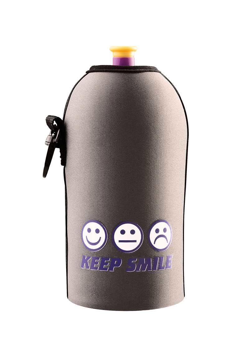 Neoprenový termoobal na sportovní a Zdravou lahev o objemu 0,5l smile grey
