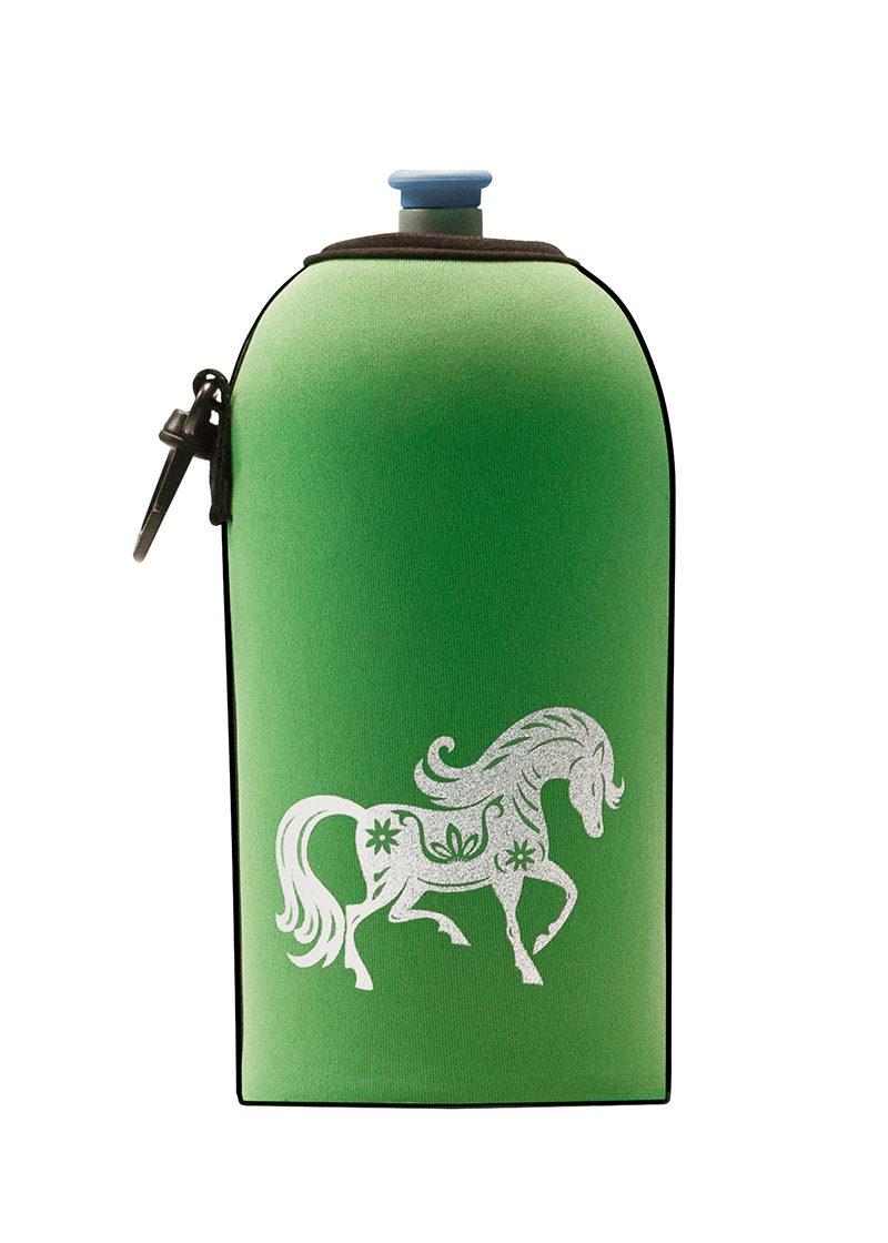 Neoprenový termoobal na sportovní a Zdravou lahev o objemu 0,5l potisk koník green