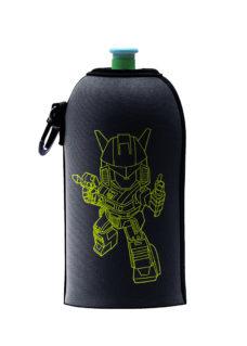 Neoprenový termoobal na sportovní a Zdravou lahev o objemu 0,5l potisk Robot black