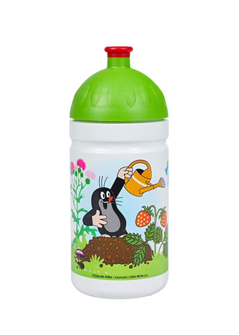 Zdravá lahev 0,5l Krtek a jahody zelená přední