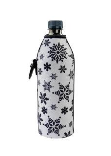 Neoprenový termoobal na plastovou a skleněnou láhev 0,5l potisk funny vločky white