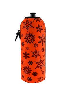 Neoprenový termoobal na sportovní láhev 0,7l potisk vločky orange