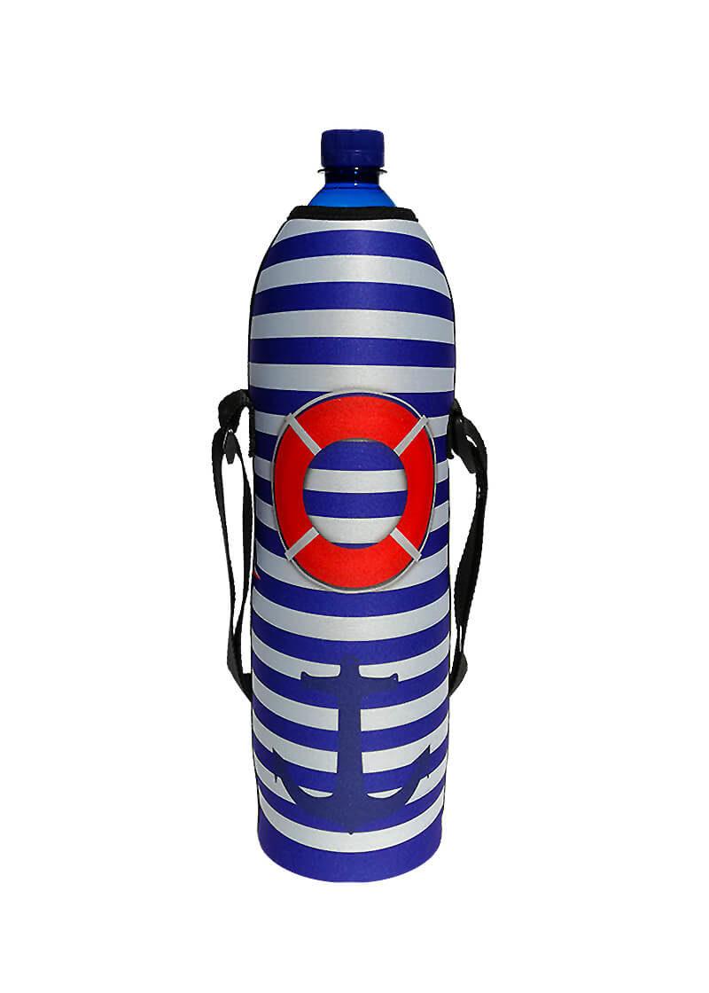 Neoprenový termoobal na plast. láhev 1,5l námořní pruhy