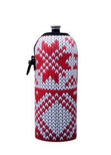 Neoprenový termoobal na sportovní a Zdravou lahev 0,7l Winter design red